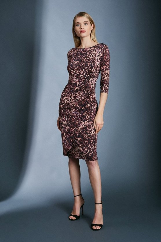 Leopard Slinky Rouched Midi Jersey Dress
