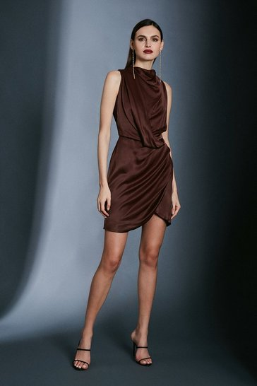 Chocolate Cowl Neck Drape Pencil Dress