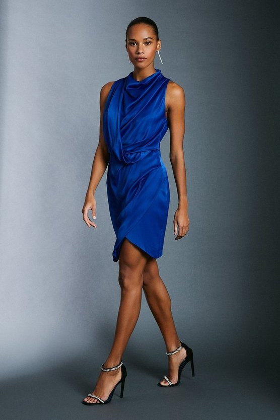 Cobalt Cowl Neck Drape Pencil Dress