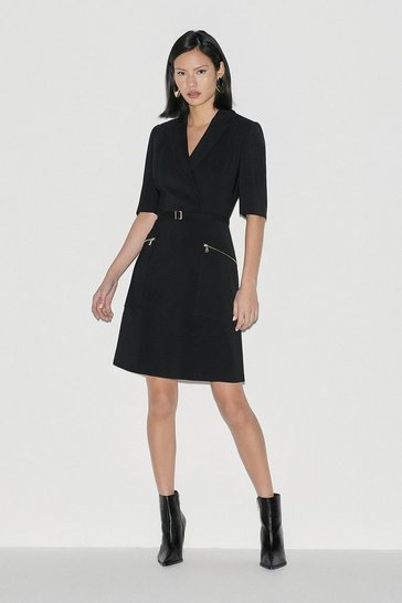 Black Italian Stretch A Line Dress