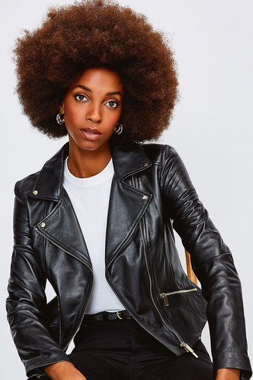 Black Leather Signature Biker Jacket