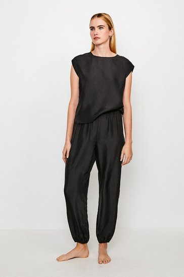 Black Silk Lounge Jogger