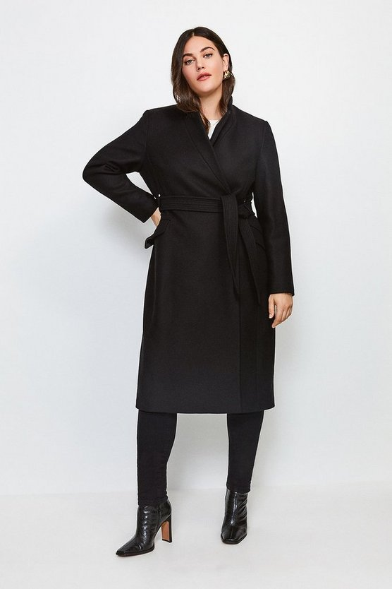 Black Curve Investment Notch Neck Wool Blend Coat