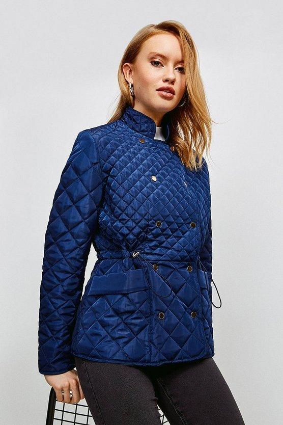 Navy Double Popper Quilted Jacket