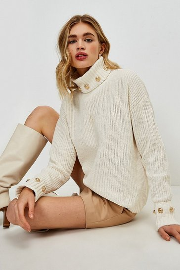 Ivory Military Rivet Chenille Jumper