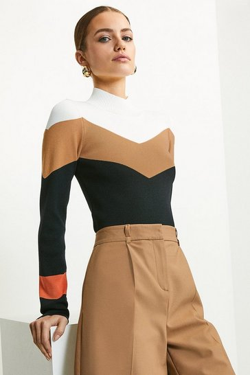 Black Colour Block Funnel Neck Jumper
