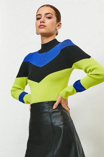 Green Colour Block Funnel Neck Jumper