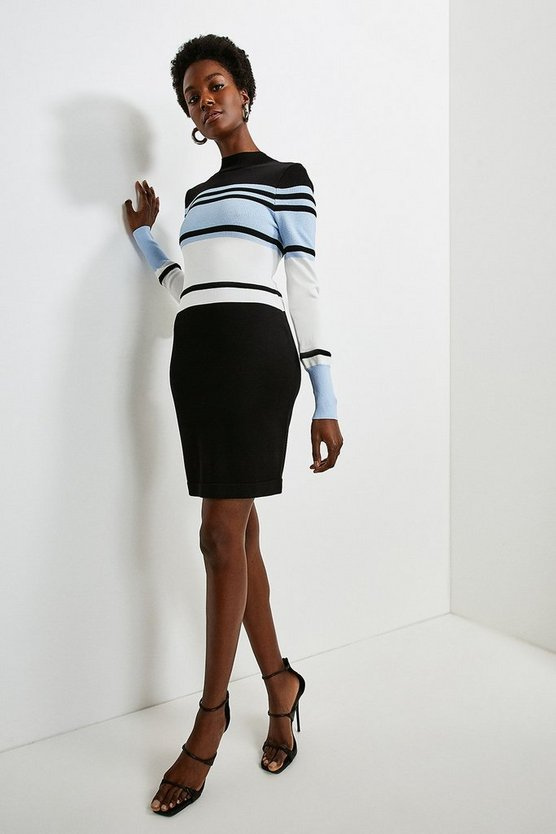 Blue Colour Block Stripe Knit Dress