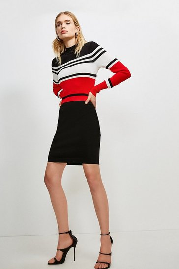 Red Colour Block Stripe Knit Dress