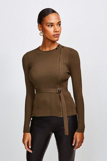 Khaki Zip Front Rib Knit Top