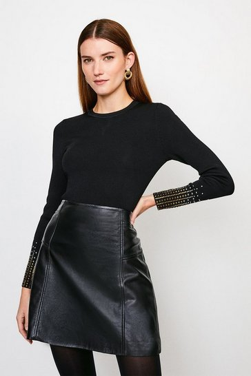 Black Embellished Cuff Knitted Jumper