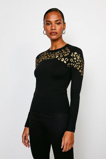 Black Animal Jacquard Knitted Jumper