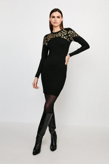 Black Animal Jacquard Knitted Tunic