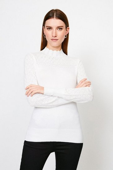 White Pointelle Funnel Neck Knitted Jumper