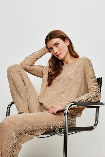 Oatmeal Embellished Soft Touch Knitted Slouchy Jumper