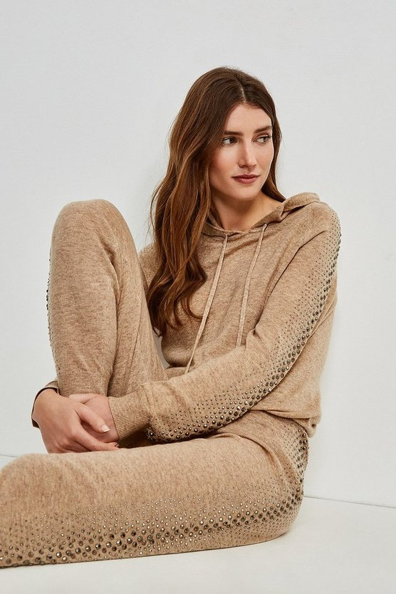 Oatmeal Embellished Soft Touch Knitted Hoodie
