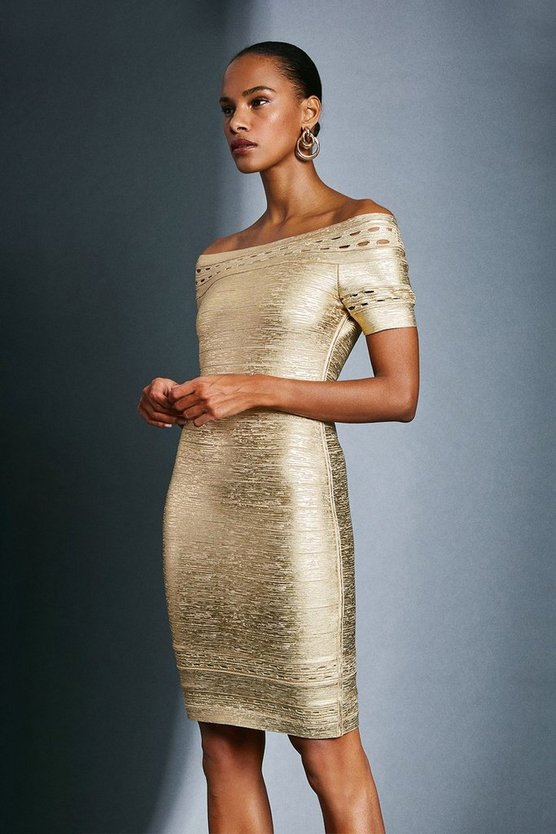 Gold Metallic Bardot Bandage Dress