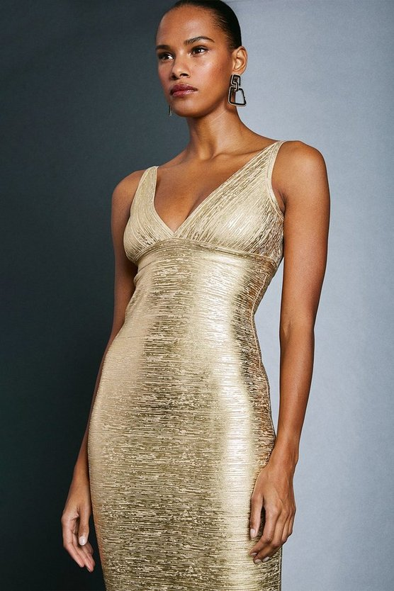 Gold Metallic Bandage Mini Dress