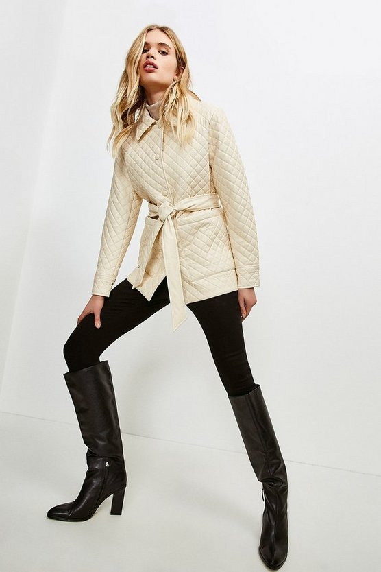 Cream Faux Leather Quilted Jacket