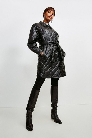Black Faux Leather Quilted Mac