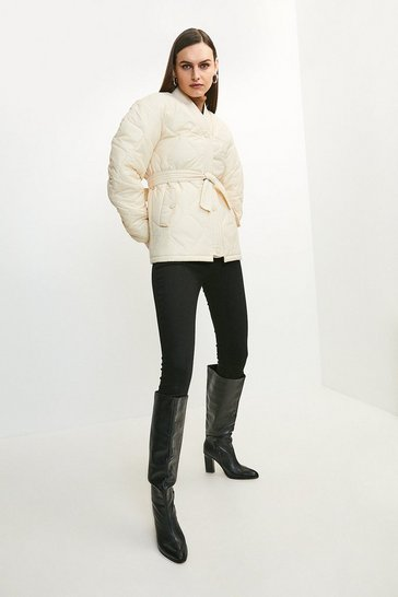 Cream V Neck Belted Quilted Jacket
