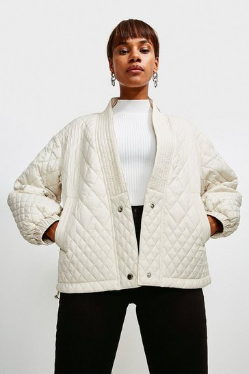 Cream V Neck Quilted Jacket