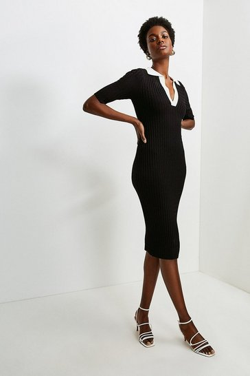 Black Tipped Racked Rib Collared Knit Dress