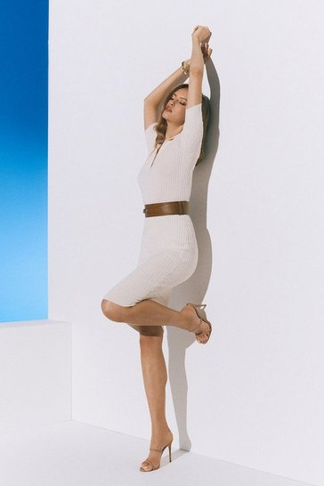 Cream Racked Rib Collared Knit Dress