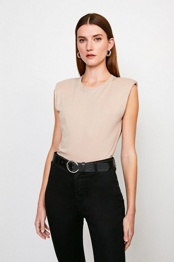 Beige Jersey Shoulder Pad Hotfix Neck Tee