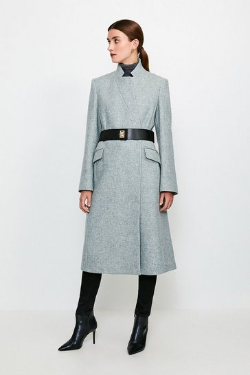 Grey Hardware Belted Wool Coat