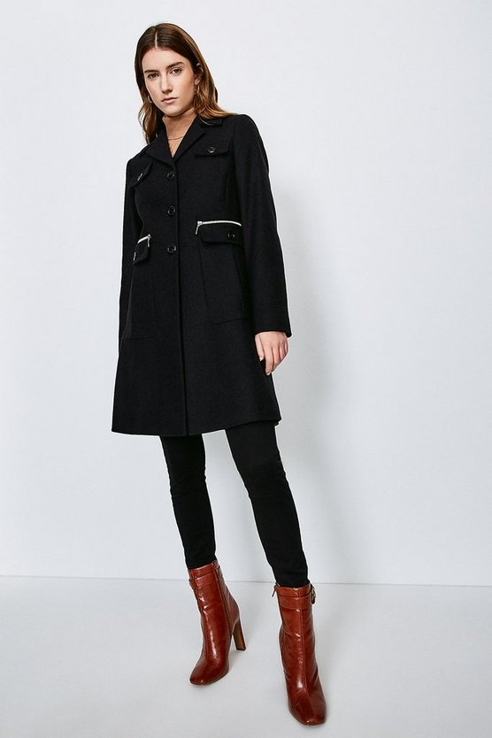Black Zip Pocket Button Detail Coat