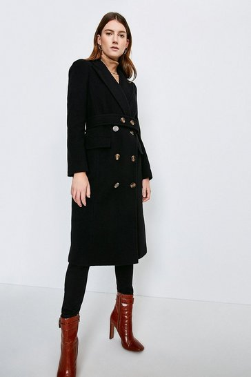 Black Wool Rich Button Belted Double Breasted  Coat