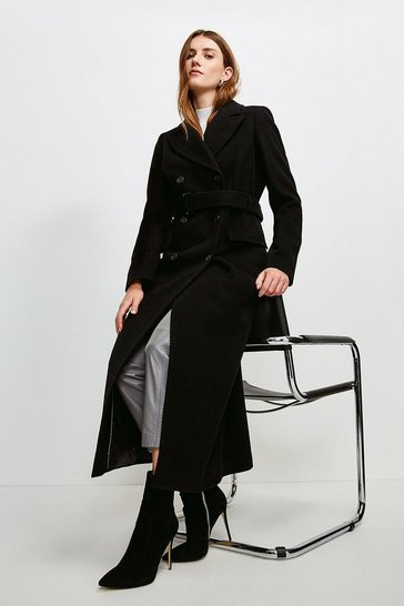 Black  Wool Rich Buckle Belted Double Breasted Coat
