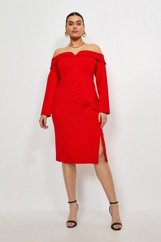 Red Curve Italian Jersey Bardot Sleeved Dress