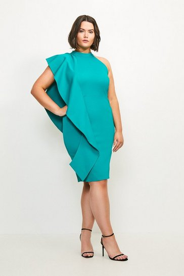 Green Curve Italian Rib Frill Dress