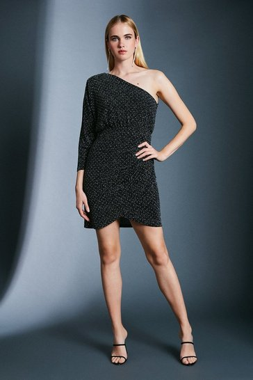 Black Stud Glitter One Shoulder Jersey Dress