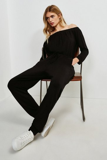 Black Lounge Bardot Jersey Jumpsuit