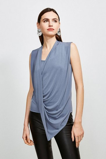 Grey Drape Front Wrap Jersey Top