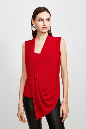 Red Drape Front Wrap Jersey Top