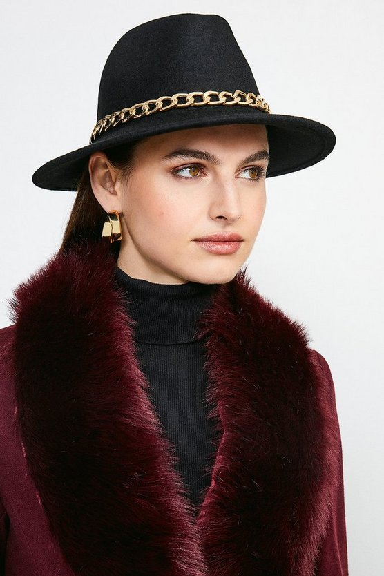 Black Chain Trim Wool Fedora