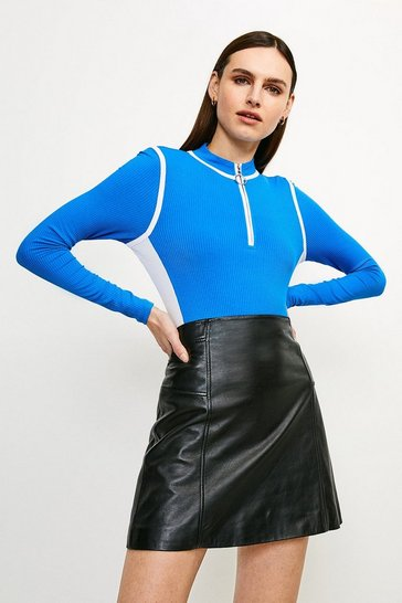 Blue Colour Block Ribbed Jersey Top