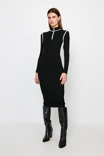 Black Colour Block Ribbed Jersey Dress