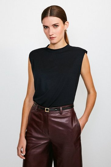Black Viscose Jersey Shoulder Pad Tee