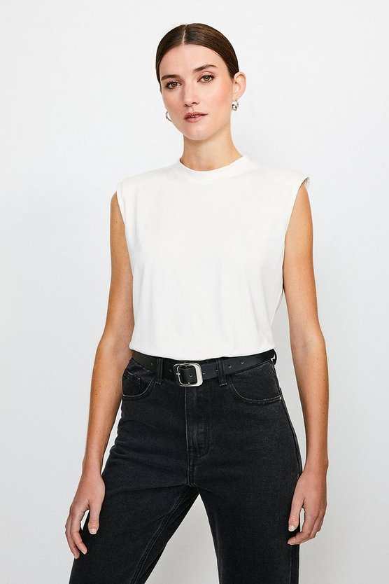 White Viscose Jersey Shoulder Pad Tee