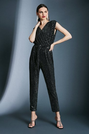 Black Sequin Belted Jersey Jumpsuit