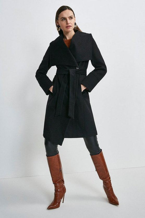 Black Italian Virgin Wool Multi Stitch Cuff Coat