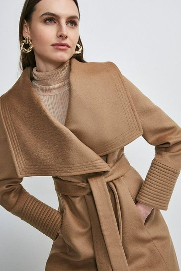 Camel Italian Virgin Wool Multi Stitch Cuff Coat