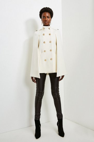 Ivory Italian Wool Rich Military Cape