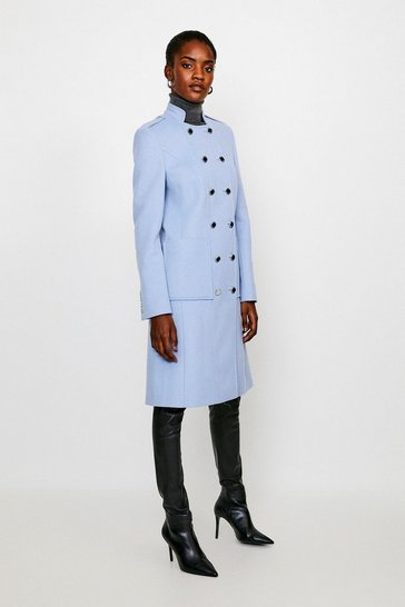 Pale blue Italian Wool Rich Military Coat