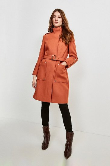Apricot Italian Wool Blend Belted Cocoon Coat